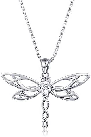MANBU 925 Sterling Silver Irish Celtic Jewelry Antiqued Dragonfly Pendant Necklace for Women Ladies Nature Lover