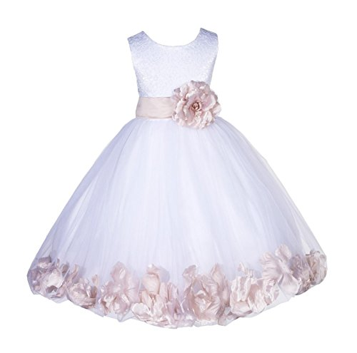 Wedding Pageant Floral Lace Top Rose Petals White Tulle Flower Girl Dress 165T 6