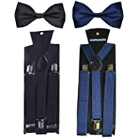 WHOLESOME DEAL unisex navy blue and black stretchable suspender with bow combo(susbw001) (Navy Blue And Black)