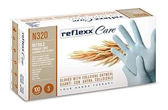 Reflexx N320/L–Guantes desechables de nitrilo guantes w/harina de avena coloidal 100pc (Pack de 100)