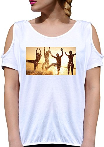 T SHIRT JODE GIRL GGG27 Z3235 SUMMER SEA VINTAGE PARTY SUNSET FRIENDS FASHION COOL BIANCA - WHITE XL