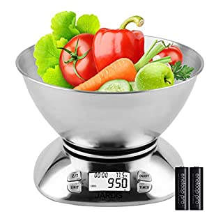 Digital Kitchen Food Scale, 12lb/5.5kg Gram Weight Scale, Removable Stainless Steel Baking & Cooking Bowl Scale with Timer and Temperature Sensor, 0.1oz/1g Resolution