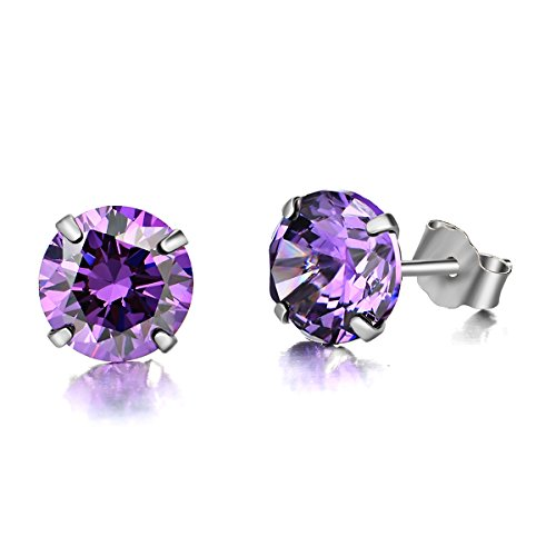 LUHE 18K Gold Plated Silver Brilliant Cut Purple Cubic Zirconia CZ Stud Earrings Purple Stone Earrings