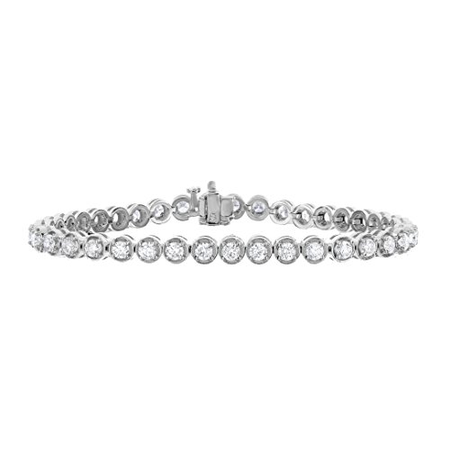 4 cttw Certified Diamond Tennis Bracelet 14K White Gold I1-I2 Clarity