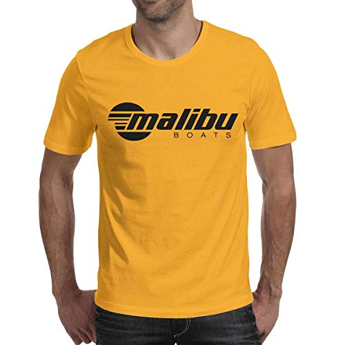 Funny Men's Cotton Sports O-Neck Malibu-Boats-Decals-North- Yellow Short Sleeve Tee Shirt