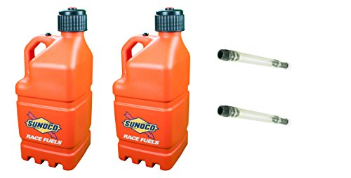 2-pack-sunoco-5-gallon-orange-race-utility-jugs-and-2-deluxe-filler-hoses