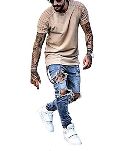(DEITP Men's Blue Distressed Destroyed Ripped Slim Fit Skinny Stretch Denim Jeans, Ripped Blue, )