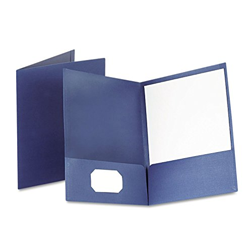 Oxford Twin-Pocket Linen Paper Portfolio, Navy ()
