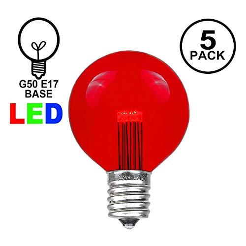 Novelty Lights 5 Pack LED G50 Outdoor Patio Globe Replacement Bulbs, Red, E17/C9 Base, 1 Watt