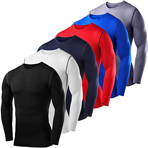 PowerLayer Men's Boys Compression Shirt Long Sleeve Base Layer Thermal Top - Red Small Boy (6-8 Years) by PowerLayer (Image #6)