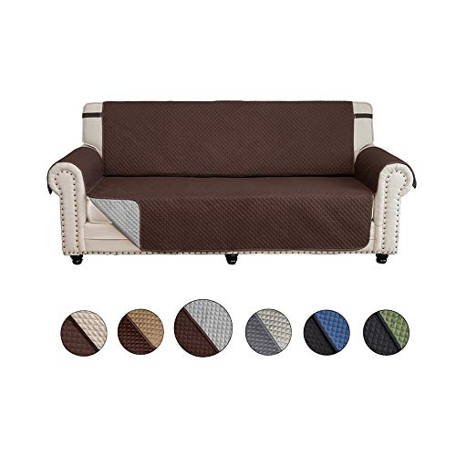 CALA Sofa Slipcovers,Covers,Reversible Couch Slipcover Furniture Protector with Elastic Straps,Covers Perfect for Pets and Kids,Machine Washable(Loveseat:Chocolate/Light Gray) ()