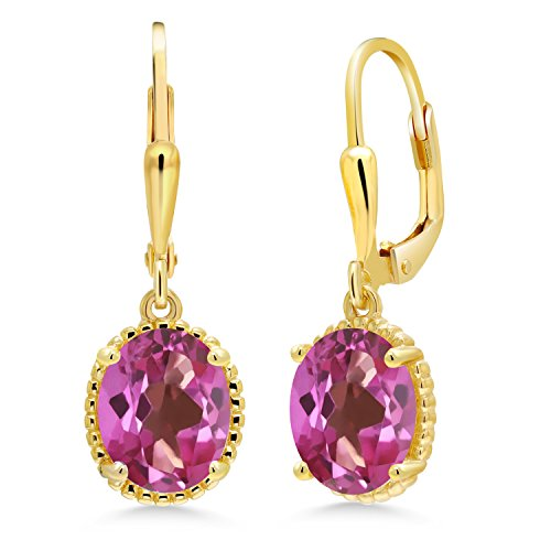Gem Stone King 3.60 Ct Oval Pink Mystic Topaz 18K Yellow Gold Plated Silver 27mm Length Dangle Earrings