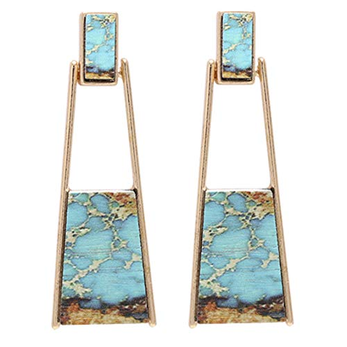 BONALUNA Bohemian Wood And Marble Effect Oblong Shaped Drop Statement Earrings ()