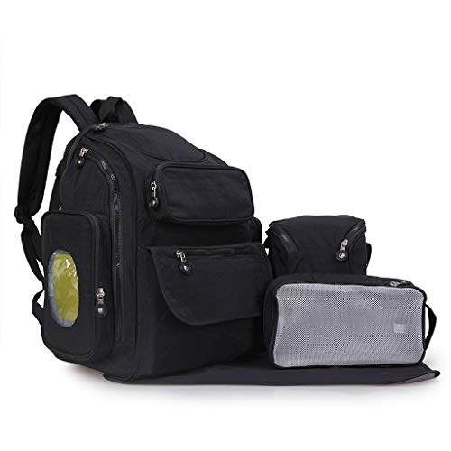 Diaper Bag Backpack Baby Newborn Camp Strollers Organizer For Womens Mens 6 Registry Gifts Set|Multi Function Adult Big Black Handbags Boys Girls Toddlers Female Male Packs Wallets Strap (Black)