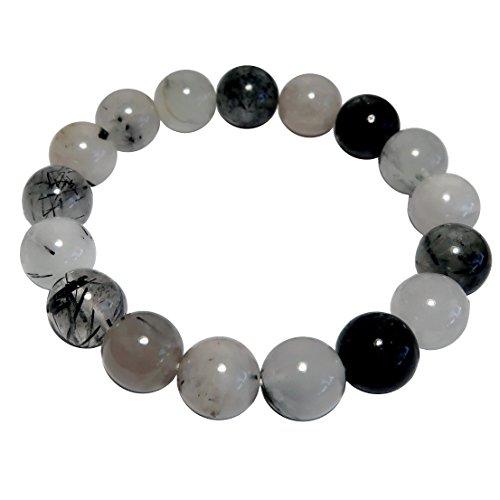 SatinCrystals Quartz Tourmaline Bracelet 11mm Boutique White Black Genuine Gemstone Round Handmade Stretch B01 ()