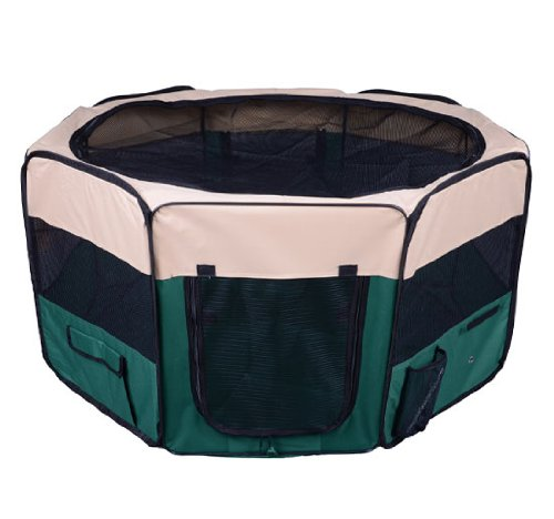 PawHut 49.2-inch Large Exercise Puppy Pet Playpen Portable Dog Cat Pet Play Pen Pet Cage Tent Kennel Crate Green + Carry Bag