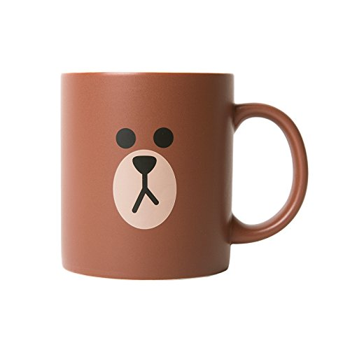 LINE FRIENDS Brown Two Face Ceramic Mug 12 Ounce Brown (Adult Twoface Costume)