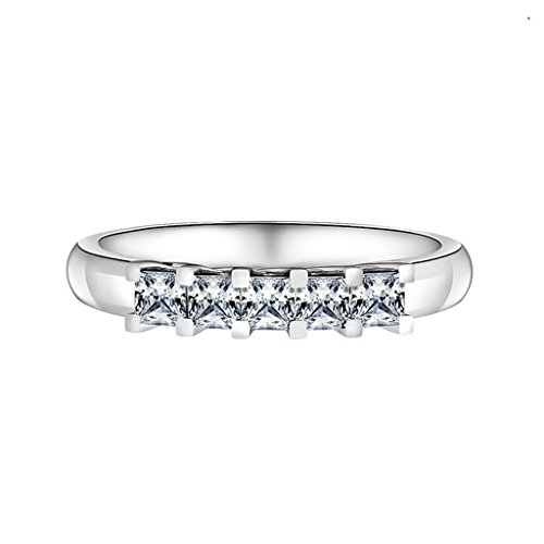AmDxD Jewelry Silver Plated Women Promise Customizable Rings Strip 5 Link CZ Size (Link Costume Template)