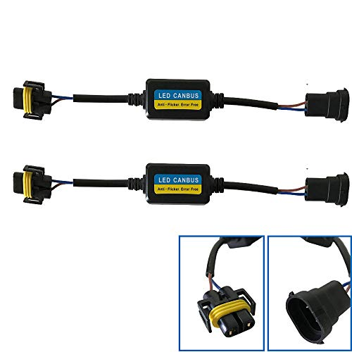 H8 H9 H11 LED Conversion Kit Headlight Canbus Error Free Anti Flicker Capacitors Resistor Wiring Harness Decoder(pack of 2)