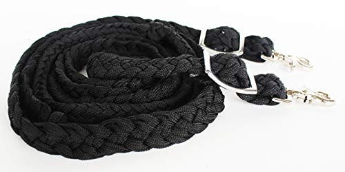 PRORIDER Roping Knotted Horse Tack Western Barrel Reins Rein Nylon Braided Black 60708