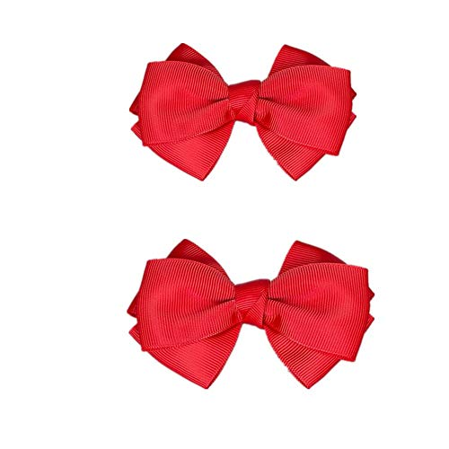Douqu 8.5cm Bridal Wedding Black Cream Red Nude Blue Pink Wild Ribbon Bow Butterfly Shoe Clips (Red)