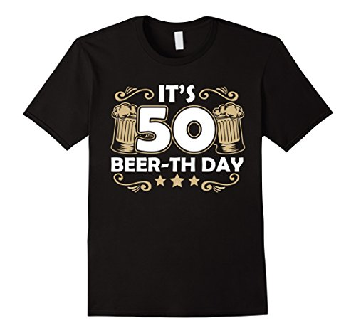 Mens Beer T-Shirt For 50 Year Old. Amazing Gifts for Men/Women XL Black
