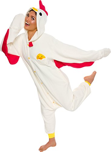 Silver Lilly Unisex Adult Pajamas - Plush One Piece Cosplay Chicken Animal Costume (Beige, Large) -