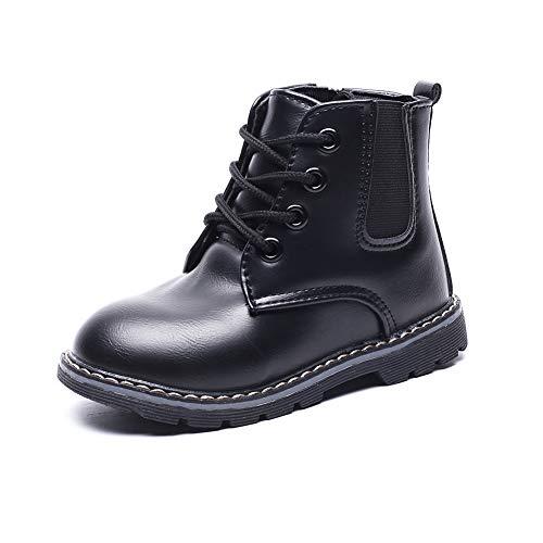 Chiximaxu Kid Girls Outdoor Ankle Boots Toddler Zip Waterproof Walking Shoes for Boys Black Toddler 8.5M ()