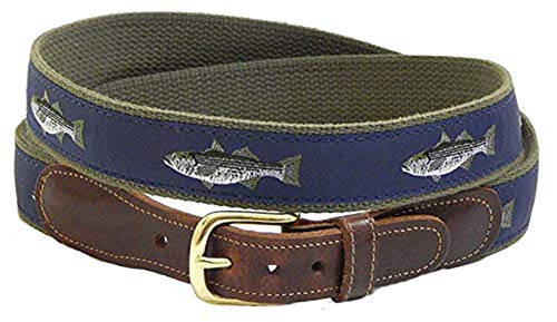 Preston Leather Men's Ribbon Belt with Leather tabs and brass buckle (36, Striped Bass)
