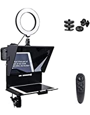 Pergear Q2 Portable Teleprompter Kit for Smartphone iPhone DSLR with Remote Control & 6 inches Ring Light for Video Filming Recording Interview Presentation Speech