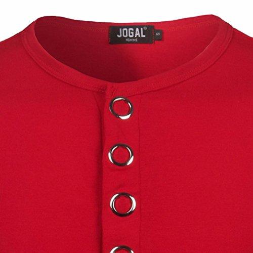 Bluestercool 2018 Mode Hommes Manches Courtes Boutons T-Shirts Tops Couleur Unie Rouge
