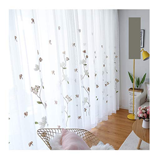 W300 Thermal (YXNZ Mesh Curtains - Embroidered Kapok Sunshade with Hook - Partition Living Room Bedroom Balcony Bay Window Decoration (Color : White, Size : W300 X H260CM))