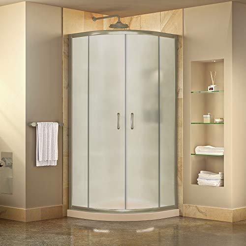 DreamLine Prime 33 in. x 74 3/4 in. Semi-Frameless Frosted Glass Sliding Shower Enclosure in Brushed Nickel with Biscuit Base Kit, DL-6701-22-04FR