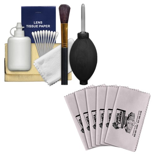 Precision Design 6-Piece Camera & Lens Cleaning Kit with Blower, Brush, Fluid, Cloth, Tissues & Tips + 6 Microfiber Cleaning ()