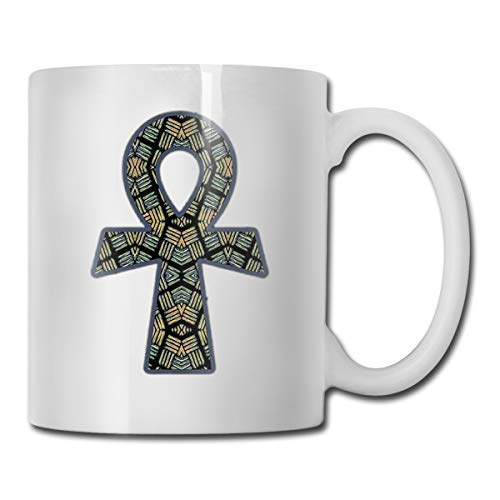 XHX Ankh African 11 OZ White Ceramic Coffee Mug C-Handle