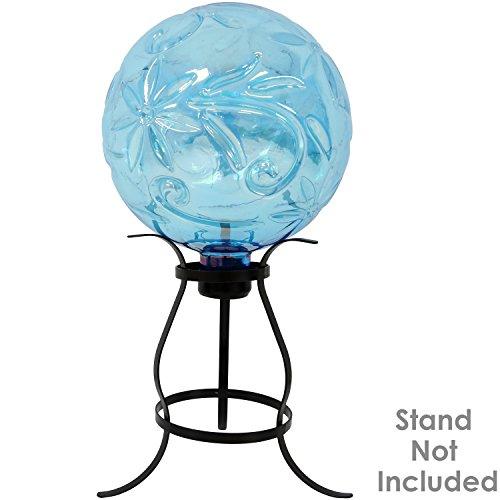 Sunnydaze Flower Pattern Gazing Globe Glass Garden Ball, Outdoor Lawn and Yard Ornament, Blue, 10-Inch by Sunnydaze Decor (Image #4)