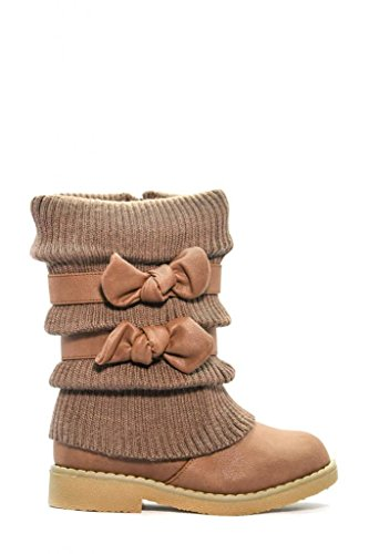 Dream Pairs Kluv Girls Knit Sweater Winter Fur Boots