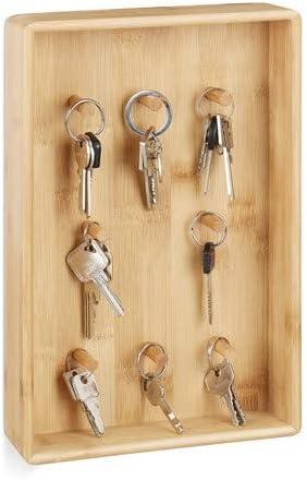 Relaxdays, 30 x 20 x 5,5 cm Caja para Llaves, Diseño Moderno, Ocho Ganchos, para la Pared, Bambú, Marrón: Amazon.es: Hogar