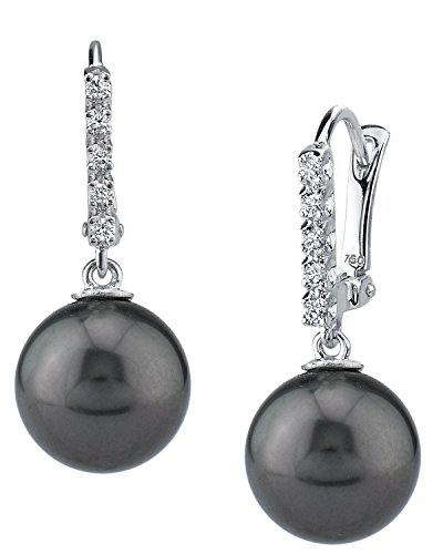 THE PEARL SOURCE 18K Gold 11-12mm Round Black Tahitian South Sea Cultured Pearl & Diamond Britney Earrings for Women