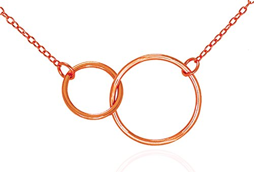 Wishbone Gold Rings (GlitterLounge Double Circle Eternity Pendant Necklace .925 Sterling Silver Interlocking Rings Rose Gold Tone 16