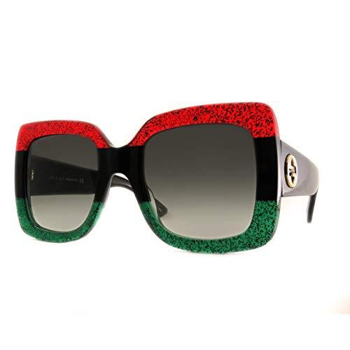 Gucci GG0083 Glitter Red Black Glitter Emerald/Grey Gradient One Size (Red Glitter Glasses)
