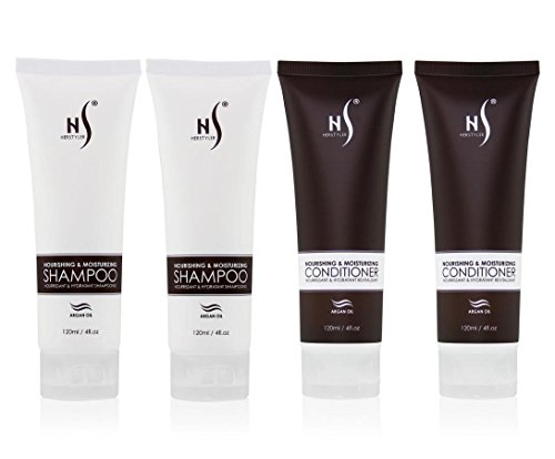 Herstyler Nourishing & Moisturizing Shampoo + Conditioner with Argan Oil 4oz (Set of 4)