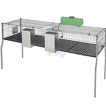 JAULA para conejos de 2 departamentos y suelo de plástico. Medidas ...
