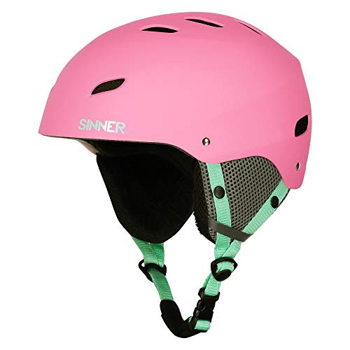 Pink Snowboard Helmet - SINNER Bingham Unisex Outdoor Snow Sports Snowboard & Ski Helmet Pink for Women, Men & Youth - Light Weight, Style Performance & Safety. Comfortable with Adjustable fit. Size (XXS)