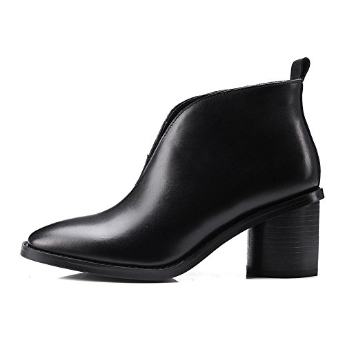 Quality Short Winter Pointed Top 2016 Fashion for toe Black Bootie Fall Ankle Heel New Chunky nEXXBq8