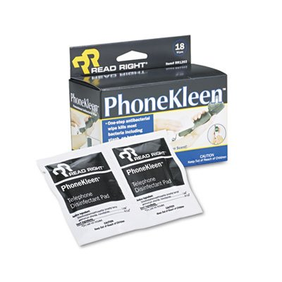 PhoneKleen Wet Wipes, Cloth, 5 x 5, 18/Box by Read Right (Phonekleen Wet Wipes)