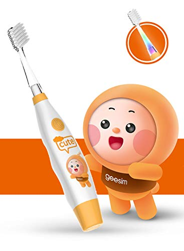 Baby Electric Toothbrush Sonic Toothbrush babies Battery Powered kids Tooth Brush with LED Light and Smart Timer Waterproof Replaceable Deep Clean For kids&baby-Baby Tooth brush (ORANGE) ()