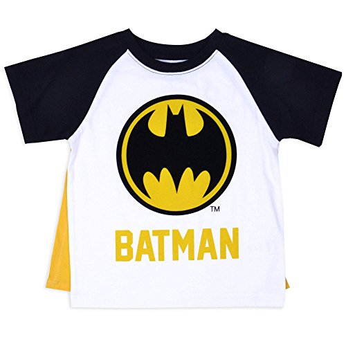 Batman Toddler Little Boys Batman Logo Raglan Costume T-Shirt with Cape (Black/White, (Mens Batman Costume T-shirt)