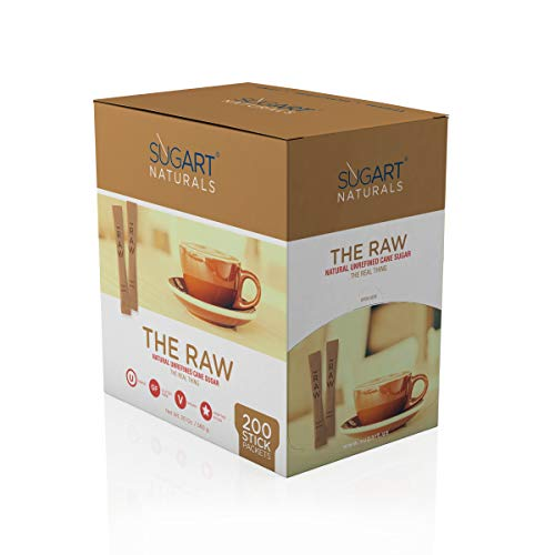 SUGART - THE RAW SUGAR - 200 Individual Serving Stick Packets - U Parve/Kosher by SUGART (Image #4)