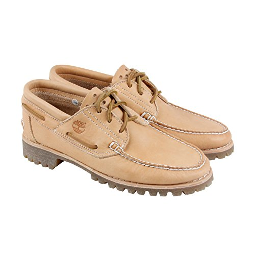 Timberland 3 Eye Handsewn Mens Tan Leather Casual Dress Boat Shoes Shoes 10